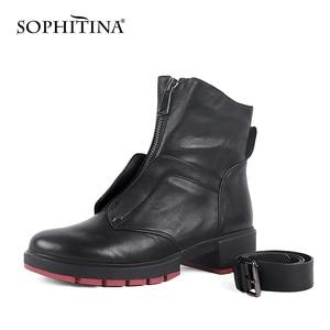 Image 2 - SOPHITINA stivali da donna classici in vera pelle di montone caldi stivali corti con tacco quadrato alla caviglia con cinturino con fibbia retrò scarpe femminili M46