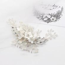 bride hair accessories manual meters bead ceramic flower combs wedding dress bridesmaid comb hairpins H027