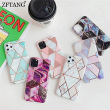Plating Geometric Marble Silicone Phone Case For iphone 11 Pro MAX 8 7 6 6S Plus XR X XS Max Case Cover Soft TPU Back Shell plating tpu phone case for iphone 11 pro max 6 7 8plus xs max xr soft silicone upscale phone cases mobile phone accessories