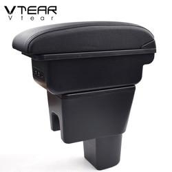 Vtear for Suzuki Celerio accessories car armrest ABS arm rest leather storage box center console interior parts decoration 2018