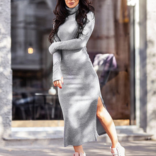 2019 Autumn Winter Turtleneck Knitted Sweater Dress Sexy Split Long Sleeve And Slim Solid Maxi Dresses Bodycon