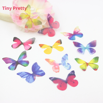 40PCS Craft Organza Butterflies Handmade Fabric Butterfly Accessory for Earring Charms, Silk Butterfly Coker, DIY Jewelry Making image