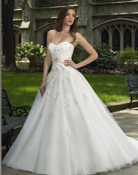 Tulle Taffeta ball gown sweetheart open back lace-up lace appliques gems rhinestones beads bridal Bespoke Wedding Dresses