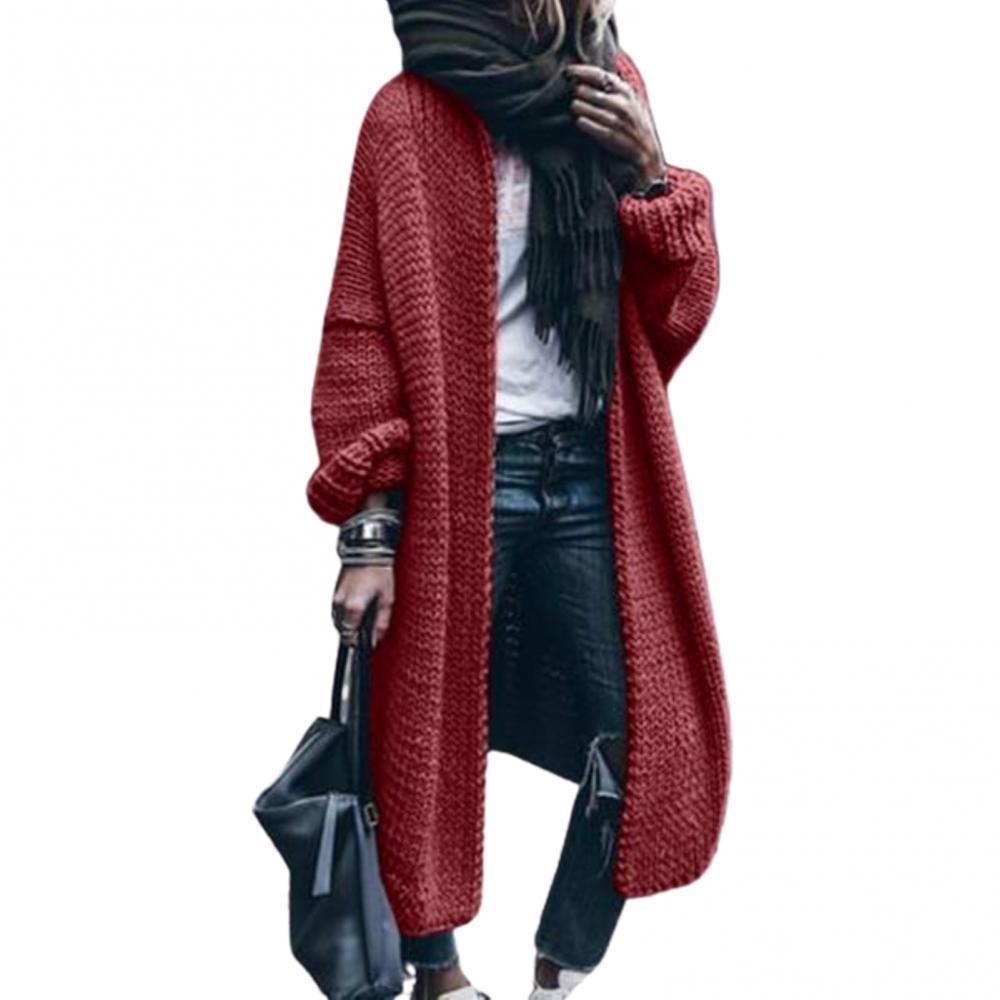 Cardigan Women Winter Long Sleeve Knitted Open Front Sweater Cardigan Mid-length Coat Women's Clothing свитера женские 2021