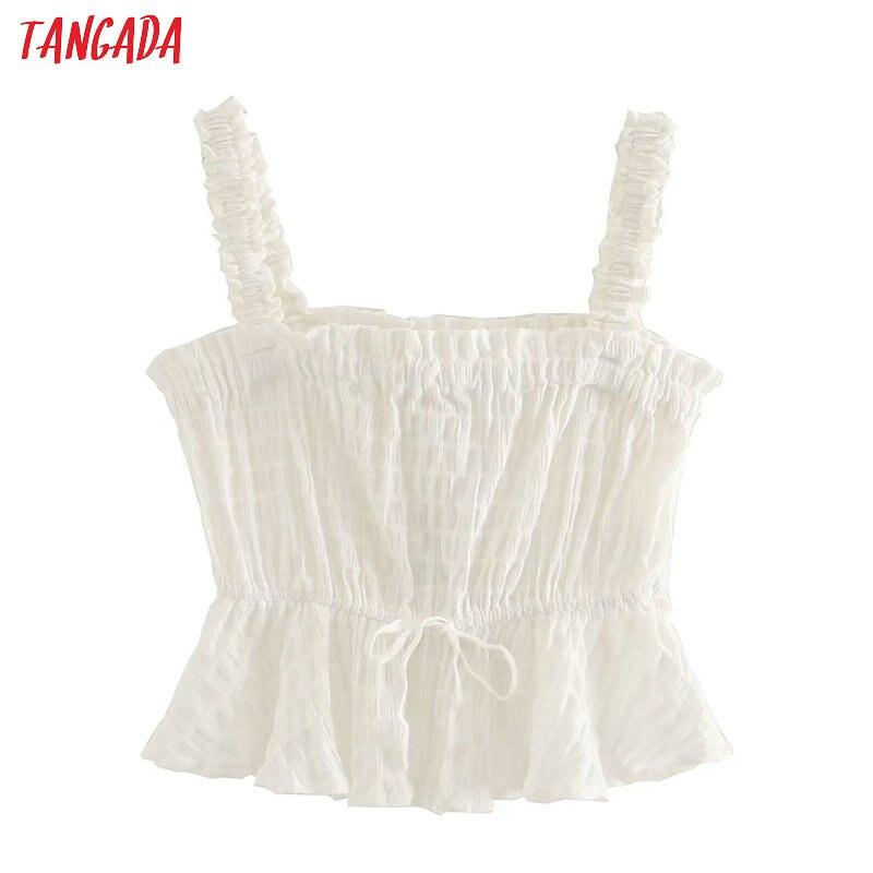 Tangada Women Sexy Strethy White Camis Top Spaghetti Strap Sleeveless Backless Tunic Blouses Shirts Tops 4M171