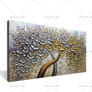 Image 2 - Hand Painted Knife Gold Tree Oil Painting On Canvas Large Palette 3D Paintings For Living Room Modern Abstract Wall Art Pictures