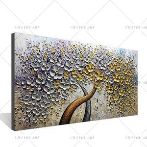 Image 2 - Handgemalte Messer Gold Baum Ölgemälde Auf Leinwand Große Palette 3D Gemälde Für Wohnzimmer Moderne Abstrakte Wand Kunst bilder