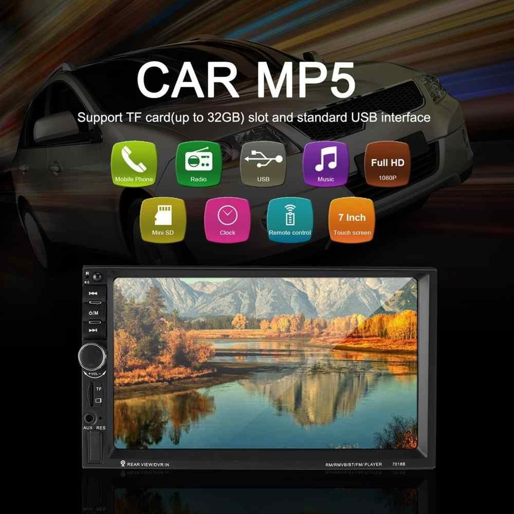 2019 yeni 7 inç çift 7018B 2 DIN araba FM Stereo radyo MP5 çalar dokunmatik multimedya oynatıcı ile yön kontrol