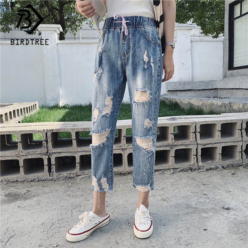 2020 Spring New Women Vintage High Waist Washed Blue Slouchy Mom Jeans Denim Ripped Hole Harem Pants Plus Size Trousers B9D008T