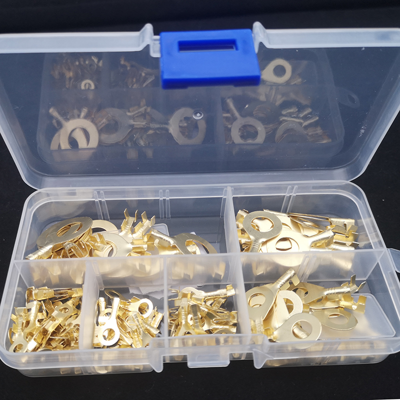150Pcs Non-insulated Wire Connectors Brass Golden Ring Cable Crimp Terminals Kit
