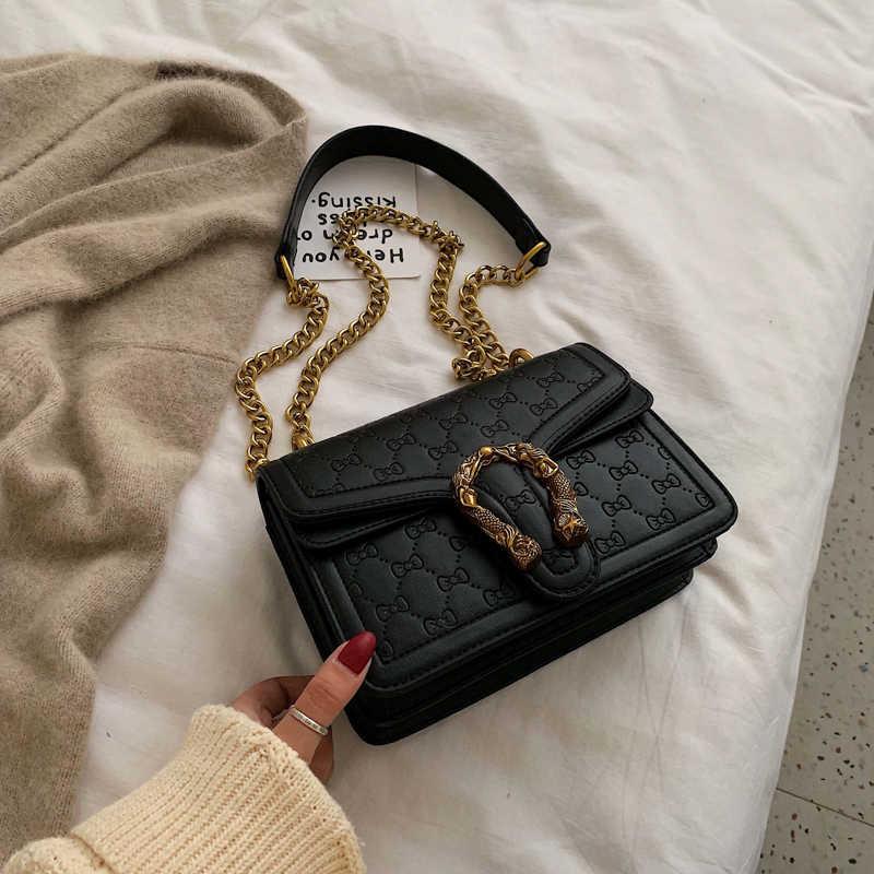 Europese Retro Fashion Dames Vierkante Tas 2020 Nieuwe Kwaliteit Matte Pu Lederen Vrouwen Handtas Keten Tote Schouder Messenger Bags