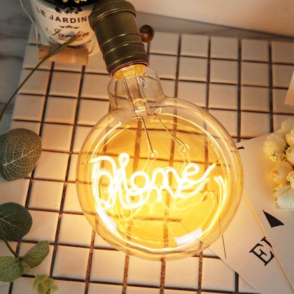 Bombillas Led Vintage bombillas Edison 4 vatios carácter amor/hogar lámpara redonda filamento Led Bombilla decorativa 220/240V E27 Guirnalda de luces 100LED de 10M para decoración de Navidad/boda/fiesta AC 110V 220V lámpara led impermeable para exteriores 9 colores led