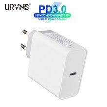 URVNS – chargeur de voyage rapide USB type-c PD 30W 45W 60W 65W 87W, adaptateur secteur pour MacBook Pro 13 15 16 / Air iPhone 11 8 Samsung