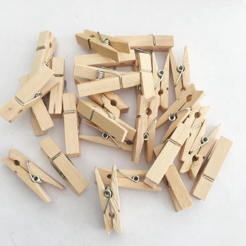 50pcs Natural Wood Clips DIY Scrapbooking Photo Clip Handmade Memo Paper Clip Wooden Clothespin