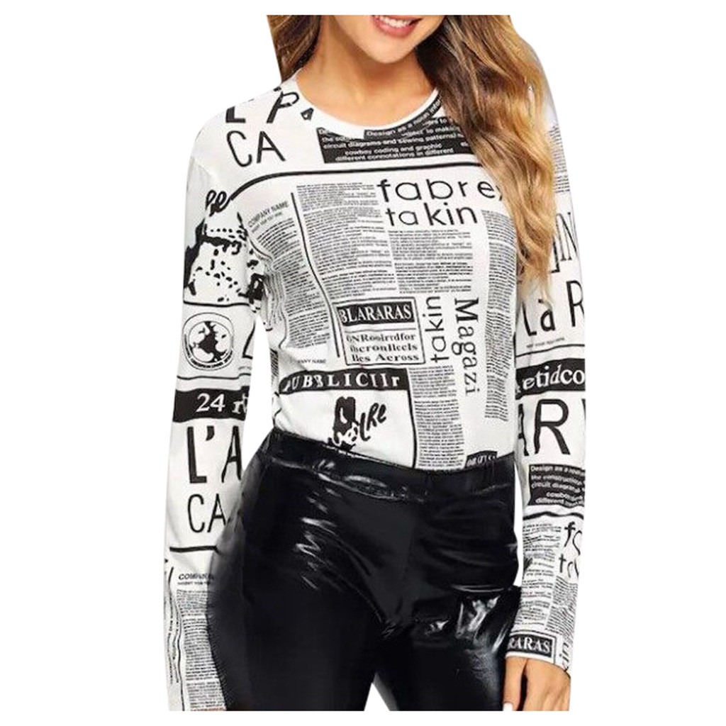 Popular Lady Outdoor Autumn Hoodie Newspaper Print Women O-neck Long Sleeve Casual Bottoming Woven Tops Sweatshirts Femme