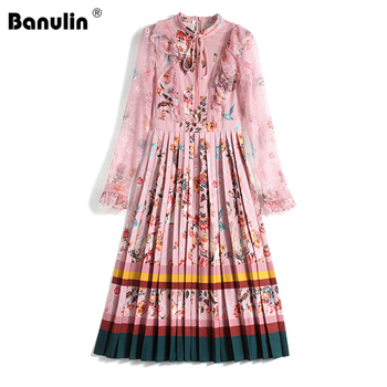 Spring Autumn Runway Designer Bow Neck Pleated Dress Women Long Sleeve Ruffles Lace Patchwork Floral Print Elegant Midi Dress banulin summer runway designer bow neck pleated dress women lace patchwork floral print elegant holiday midi dress vestidos
