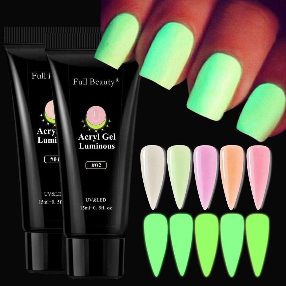 15 мл светящийся поли зеленый гель лак для наращивания ногтей все для маникюра Акриловые искусственные ногти строитель светящийся чистый цв...