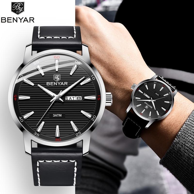 BENYAR Fashion Mens Watches Top Brand Luxury Quartz Watch Men Sport Waterproof Military WristWatch Mens Reloj Hombre Leather Hot