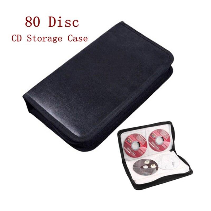 LEORY 80 Disc PU DVD CD Storage CD Holder Carry Bag Case DJ Faux Leather Case Storage Holder Organizer Wallet Box For VCD DVD CD