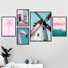 Windmill Flamingo Pink Beach Coconut Tree Wall Art Canvas Painting Nordic Posters And Prints Pictures For Living Room Decor