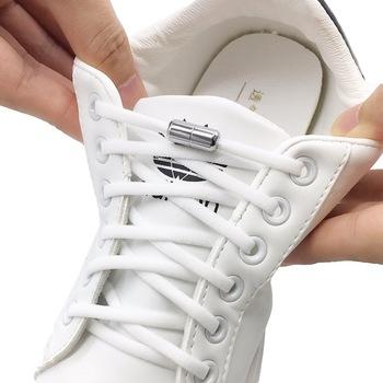 Elastyczne sznurówki których nie trzeba wiązać półkole sznurowadła dla dzieci i trampki dla dorosłych sznurowadło szybki leniwy metalowy zamek sznurki okrągłe tanie i dobre opinie DIEKLSJFK CN (pochodzenie) COTTON Stałe Elastic shoelace Shoelaces Shoelaces without laces Round