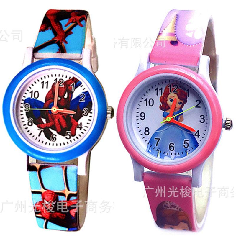 Hot Sale  Kids Watches  Spiderman  The Princess   3D  Silicone  Cartoon  Children Watch