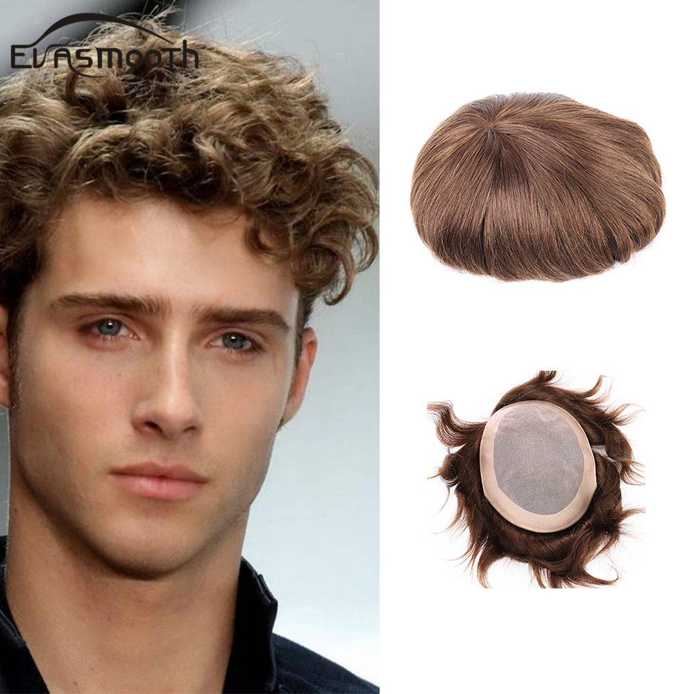 Protesis Capilar Mens Toupee Indian Human Hair Lace Pu Wig Men Hair System Durable Breathable Invisible Knot Mens Wig Extension