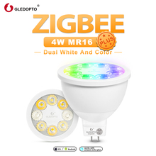 GLEDOPTO zigbee smart rgb white color mr16 plus smart spotlight bulb DC12V work with alexa echo plus Voice control ZigBee hub