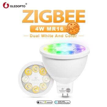 GLEDOPTO zigbee smart rvb couleur blanche mr16 plus ampoule de projecteur intelligente DC12V fonctionne avec alexa echo plus commande vocale ZigBee hub