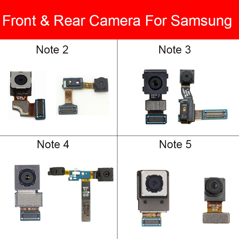 Front&Rear Camera For Samsung Galaxy Note 2 3 4 5 N7100/N900/N9005/N910C/N910F/N920 Small Facing Main Back Camera Module