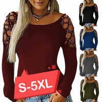 5 farben Bluse Und Hemd Frauen Herbst 2019 Neue Dame Langarm T Shirt Tops Plus Größe Aushöhlen Weibliche blusen Top 5XL D35