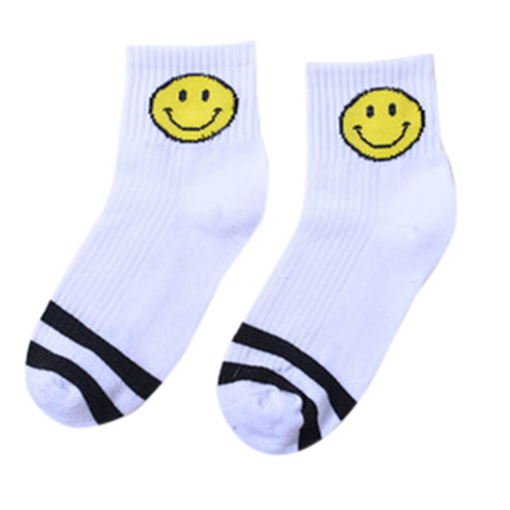 Smiley Short Tube Striped Socks Comfortable Breathable Casual Slippers Socks Quality Autumn Winter Men Women Daily