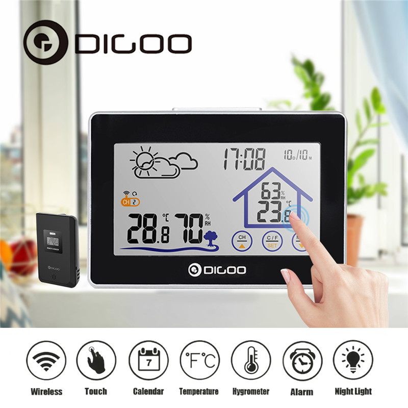 Digoo DGTH8380 Weather Station Digital Thermometer Hygrometer Wireless Sensor Forecast Temperature Humidity Meter Touch Screen
