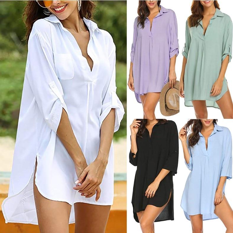 Womens Blouses V-neck  Long Sleeve Casual Tops Blouse Dames Blouses Lange Beach  Elegant Loose Tops White Casual Sunscreen Shirt