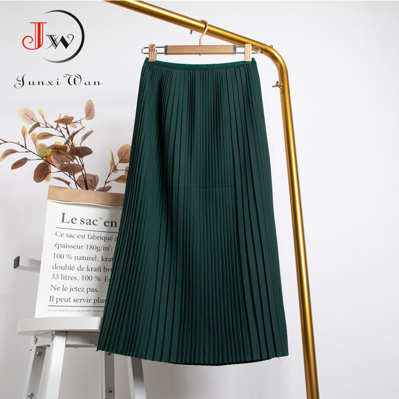 Women Summer Solid Pleated Skirt 2021 High Elastic Waist Elegant Office Ladies Romantic Midi Skirt Female Saia Faldas White 5