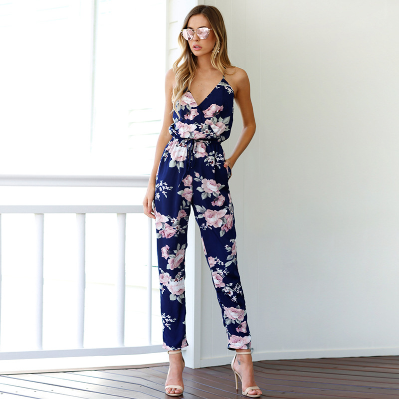 One Piece Jumpsuits Women Rompers Blackless Print Casual for Clothes 2019
