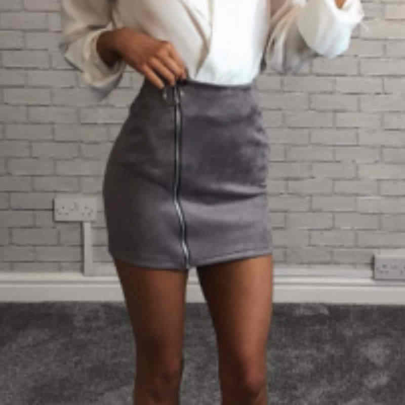 Delle Donne di modo A Vita Alta Zip Up di Colore Solido Fasciatura di Bodycon Gonne Pelle Scamosciata Del Faux Leather Mini Gonne A Matita