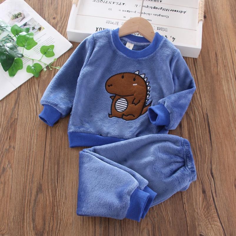 New Kids Flannel Pajama Sets Winter Christmas Pyjamas For Children Thick Warm Cartoon Sleepwear Girls Boy Casual Home Suit1-6Y 3