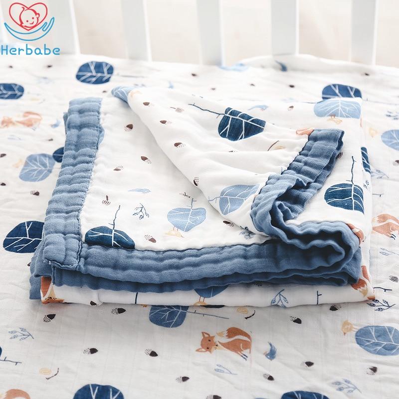 Herbabe Baby Muslin Blanket Cotton Swaddle Receiving Blankets For Newborn Kids 47