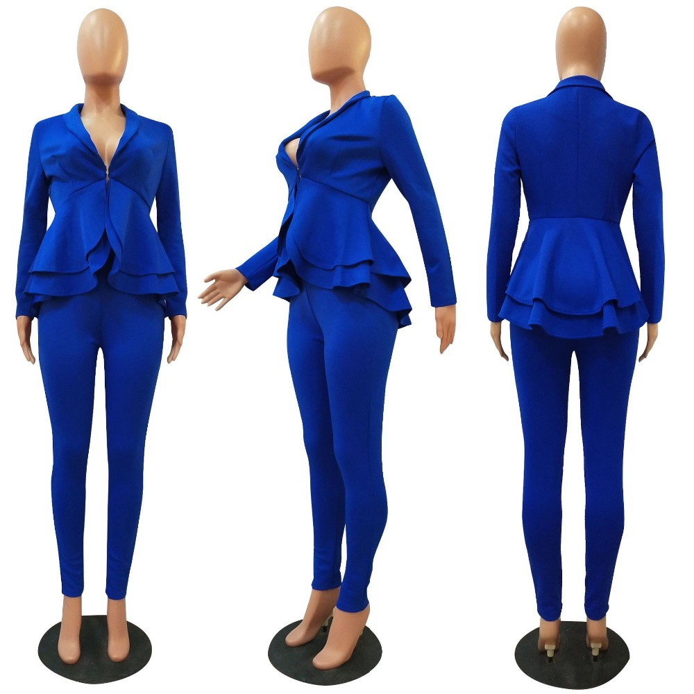 H1cc553b608d441a98a3f096f8f3482b96 - Plus Size Office Ladies Blue Pink 2 two piece set top and pants Elegant Female Casual Business matching suit sets Women clothing
