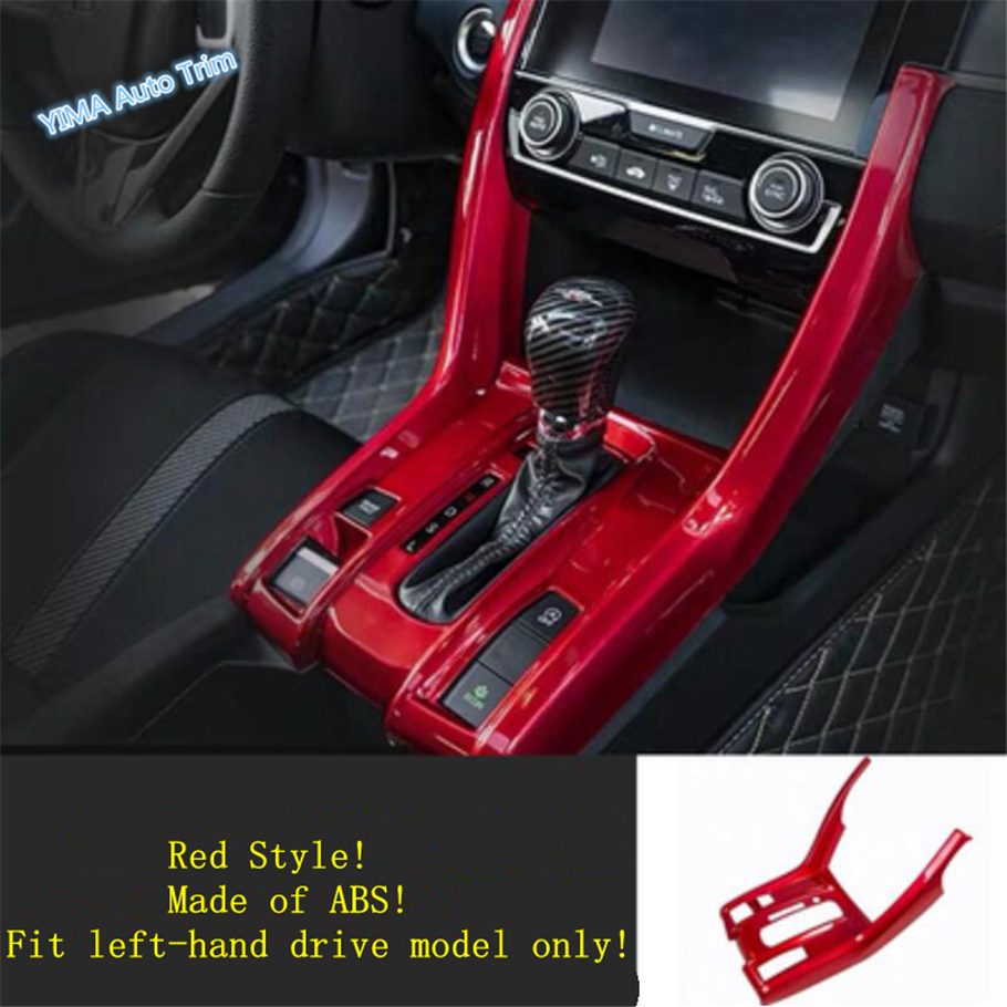 Lapetus Auto Styling Stalls Gear Shift Box Frame Cover Trim Fit For Honda Civic 2016 - 2019 Matte Red Carbon Fiber ABS