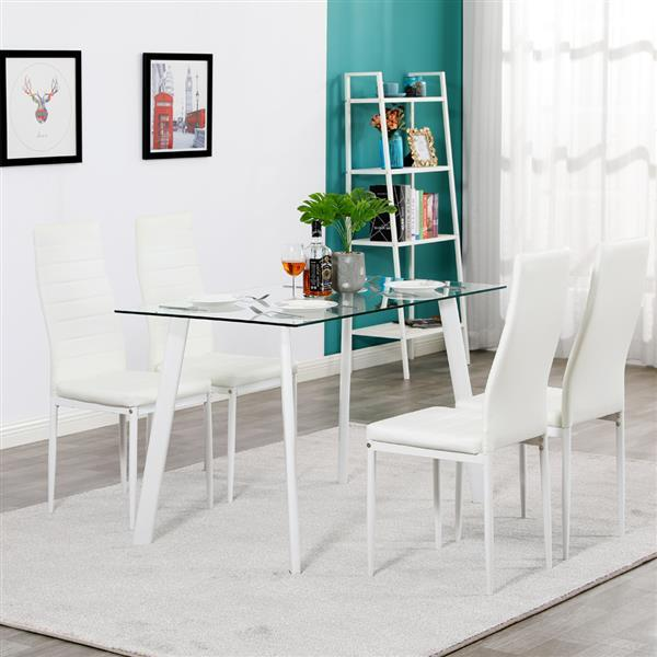 White Glass Dining Table Set w/ 4 Chairs  6