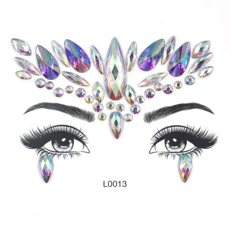 Face Eye Drill Stick Acrylic Face Sticker Diamond Crystal Sticker Women Beauty Makeup DIY Jewelry Party Crystal Faces Sticker