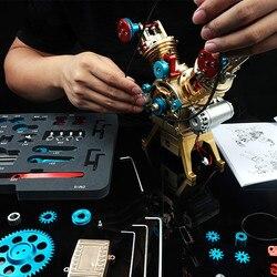 Mini V2 Dual Zylinder Motor Modell Kann Starten Nicht-Stirling Montage Spielzeug Wissenschaft Anweisung Kinder Wissenschaft Labor Spielzeug