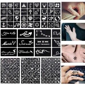 Image 3 - 17 גיליון 264 מפות מקצועי עמיד למים חינה קעקוע תבניות זמני גליטר Airbrush קעקוע יד אצבע ציור #242095
