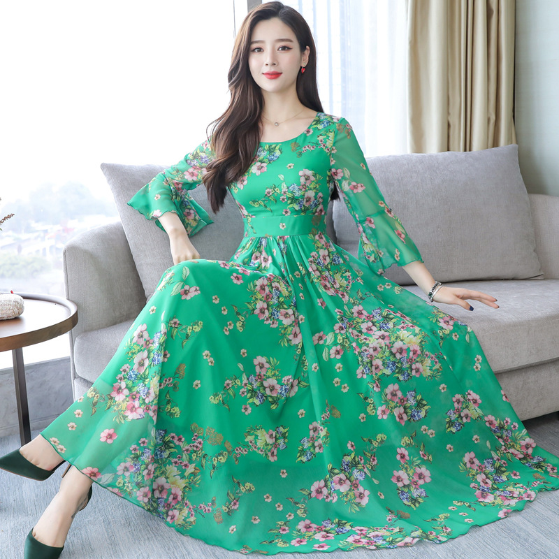 Bohimian Chiffon Dress Summer Long Floral Dress Women Plus Size Bohimian Maxi Beach Dress Green Red Pink Dresses Aliexpress