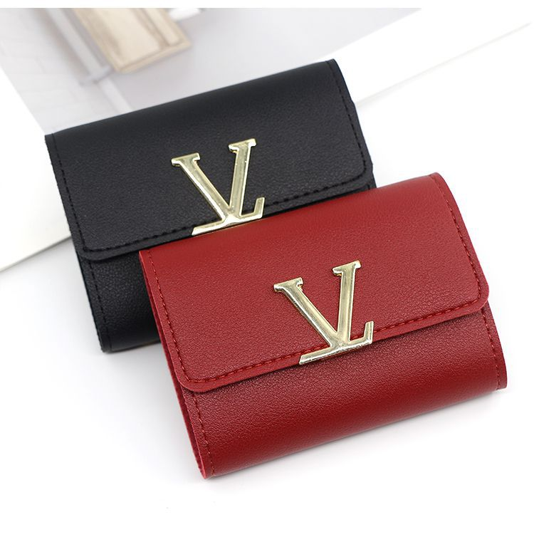 Wallet Card Holder Women Multi Function Coin Purse Business Credit Card Case Metal Letter Leather Card Wallet Wholesale