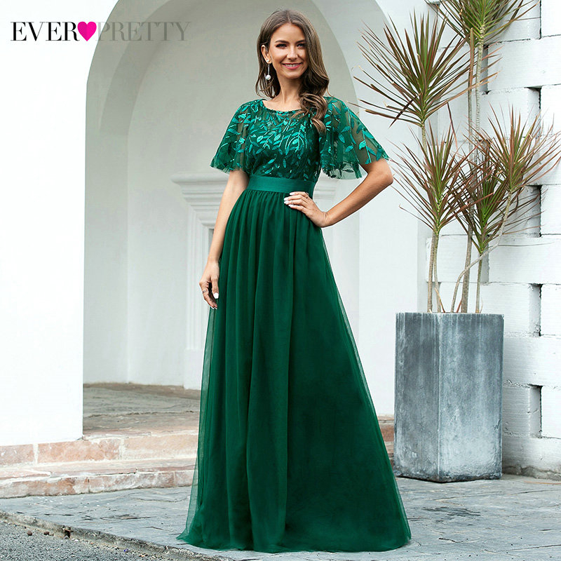 Sparkle Evening Dresses Long Ever Pretty A-Line O-Neck Short Sleeve Sequined Tulle Elegant Evening Gowns Robe De Soiree 2020