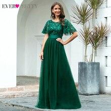 Sparkle Evening Dresses Long Ever Pretty A-Line O-Neck Short Sleeve Se