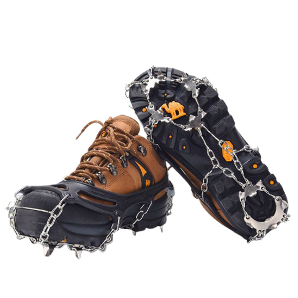 Walk Traction Cleat 19 Teeth Ice Snow Grips Crampons Anti Slip Over Shoes Boots Footwear For Hiking Fishing Climbing